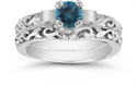 Blue Diamond 1/4 Carat Art Deco Bridal Set  from: USD$1,125.00