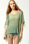 Dahlia Oversize Crochet Knit Tassel Poncho