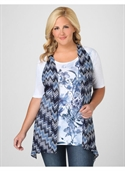 Catherines Women`s Plus Size/coastal Blue, Green Zigzag Pointelle Knit Vest -  from: USD$33.00