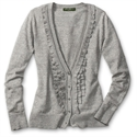 Eddie Bauer Jasp Ruffle V-neck Cardigan, Medium Heather Gray S Petite  from: USD$59.95