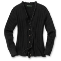 Eddie Bauer Vintage Ruffle Cable Cardigan, Black M Petite  from: USD$59.95