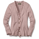 Eddie Bauer Vintage Ruffle Cable Cardigan, Light Pink Heather S Petite  from: USD$59.95