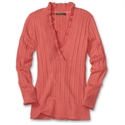 Eddie Bauer Vintage Ruffle Cable V-neck, Papaya M Petite  from: USD$54.95