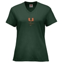 Nike Miami Hurricanes Green Ladies Classic Logo T-shirt  from: USD$18.00