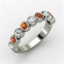 14k White Gold Ring With Diamond & Fire Opal  from: USD$1,158.00