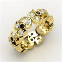 Arbor Eternity Band, 14k Yellow Gold Ring With White Sapphire & Bla  from: USD$1,134.00