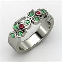 Arbor Ring, Platinum Ring With Emerald & Ruby
