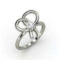 Bow Ring, Round White Sapphire 14k Gold Ring  from: USD$1,133.00