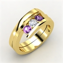 Enchanting Ring, 14k Yellow Gold Ring With Diamond & Amethyst  from: USD$1,144.00