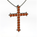 Large Brilliant Cross, Platinum Necklace With Fire Opal  from: USD$1,146.00