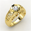 Octagon Ring, Men`s Round White Sapphire 14k Yellow Gold Ring