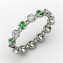 Seed & Pod Eternity Band, 14k White Gold Ring With Emerald Diamon  from: USD$1,133.00