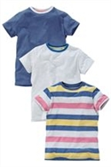 Stripe, Grey And Blue T-shirts Three Pack (3-16yrs)