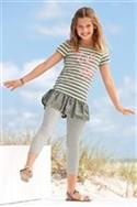 Stripe Khaki Tunic And Grey Marl Leggings Set (3-16yrs)
