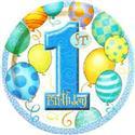 Balloon Design 1st Birthday Boy Dinner Plates  from: AU5.95