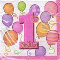 Balloon Design 1st Birthday Napkins Girl  from: AU5.40