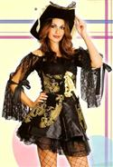 Black And Gold Lace Pirate Womens Costume & Hat - Small Medium
