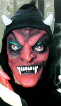 Red Devil Mask With White Fangs, Horns And Hood  from: AU14.95