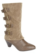 Britt Buckle Boot By Comfortview (taupe, 10 Ww)