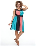 17 Sundays - Coloured Panel Chiffon Dress Dresses (black & Multi)
