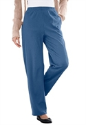Woman Within Plus Size 7-day Knit Tall Rib Pants By Only Necessities (blue Steel, S)