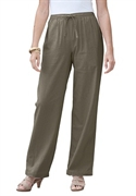 Woman Within Plus Size Cool Petite Linen Blend Pants (dusty Olive, 26 Wp)  from: USD$26.98