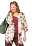 Woman Within Plus Size Hassle Free Tunic (ivory Print, 3x)