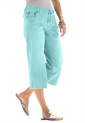 Woman Within Plus Size Petite 5 Pocket Stretch Capri Pants (light Blue, 36 Wp)  from: USD$34.99