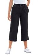 Woman Within Plus Size Petite Mock Fly Capris (black, 18 Wp)  from: USD$22.98