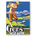 Crans Golf Alpin Travel Poster Greeting Cards